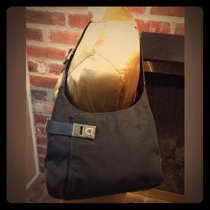 Ferragamo Black Leather and Canvas Shoulder Purse